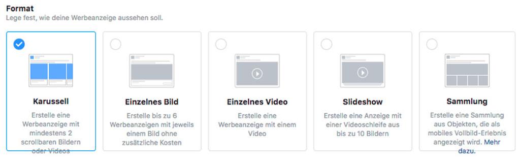 5 verschiedene Möglichkeiten der Formate der Facebook Werbung