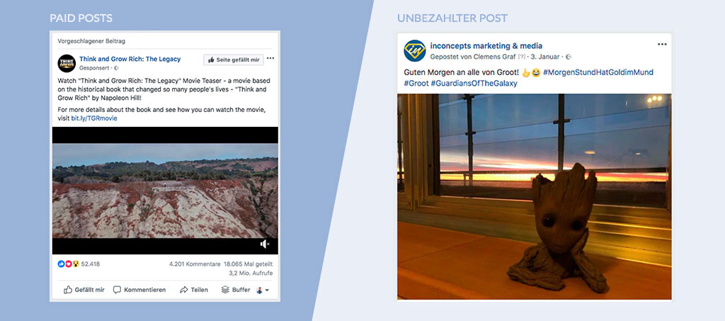 Paid Posts vs. unbezahlter Post