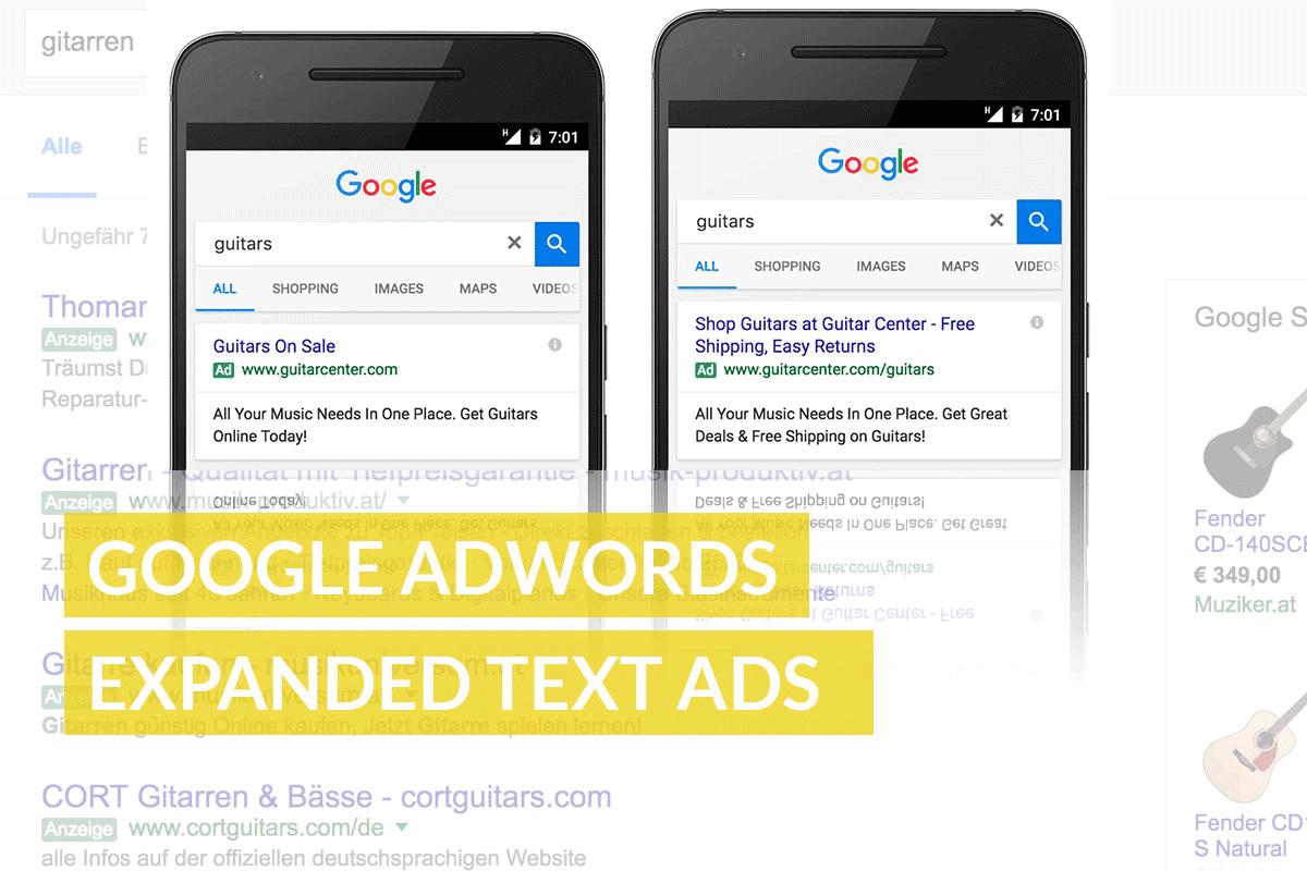 Google AdWords erweiterte Text Anzeigen