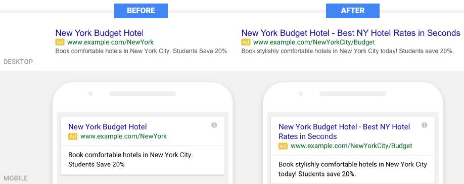 Expanded Text Ads vorher / nachher Vergleich