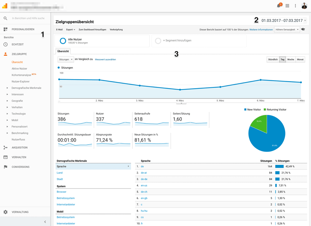 Ansicht Zielgruppenanalyse in Google Analytics