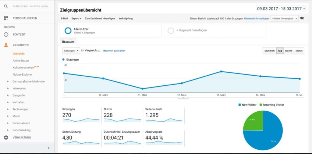 Ansicht Google Analytics Zielgruppenübersicht
