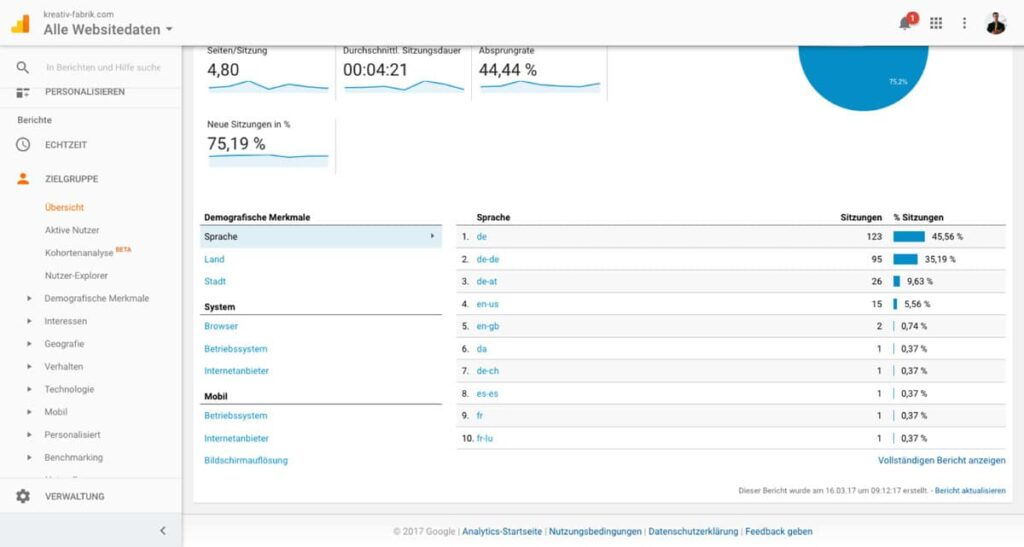 Ansicht Google Analytics Zielgruppenübersicht Sprache