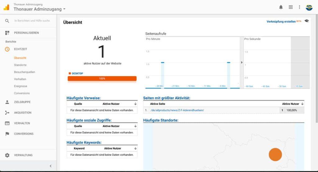 Ansicht Google Analytics - Echtzeit