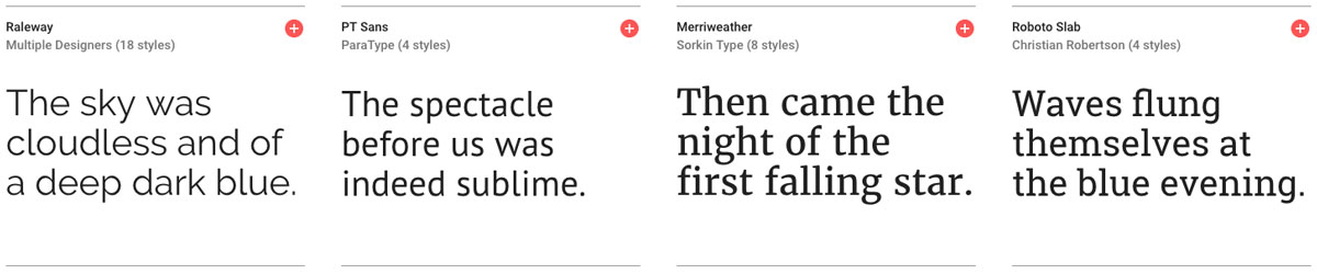 Screenshot google fonts