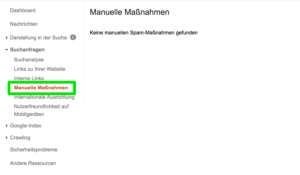 Google Search Console - Manuelle Massnahmen