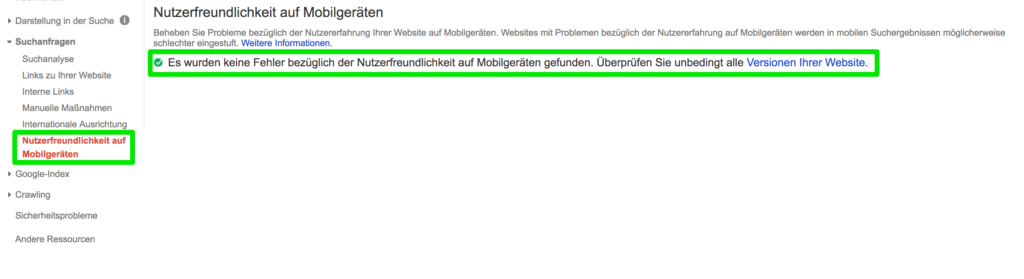 Google Search Console - Nutzerfreundlichkeit auf Mobilgeräten