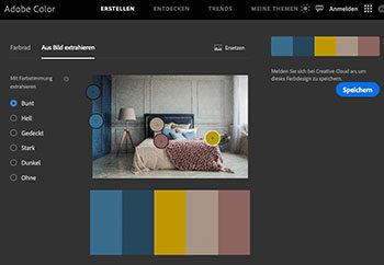 Bett mit Farbkomposition darunter
