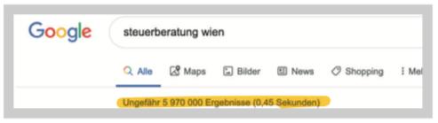 Google Suche Steuerberatung Wien