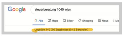 Google Suche Steuerberatung Wien 1040