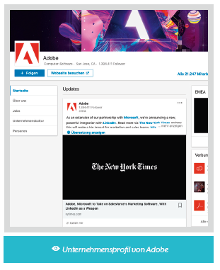 LinkedIn Unternehmensprofil Adobe
