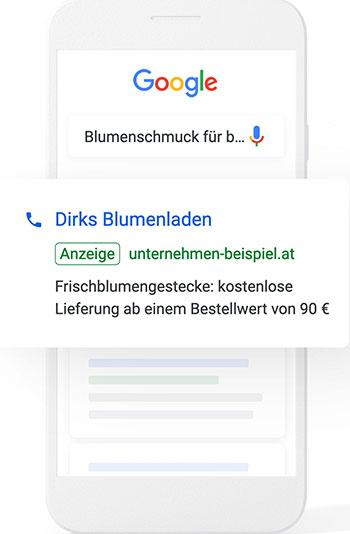 Google Suchanfrage Dirks Blumenladen auf Smartphone