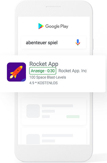 Google Playstore Suche nach Abenteuer Spiel Rocket App