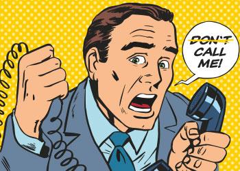 """Comic Mann mit Telefon in der Hand und Sprechblase """"Don't (durchgestrichen) call me"""""""