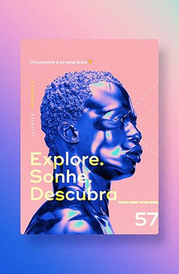 Magazincover mit Person und Farbverläufen