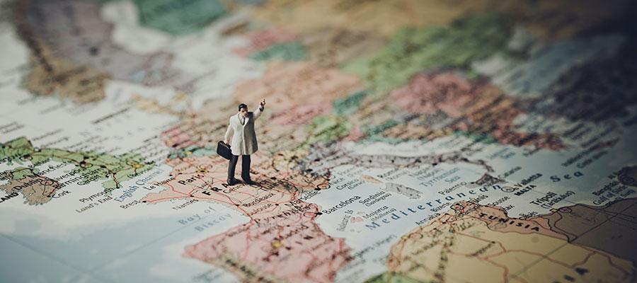 Guide auf Weltkarte