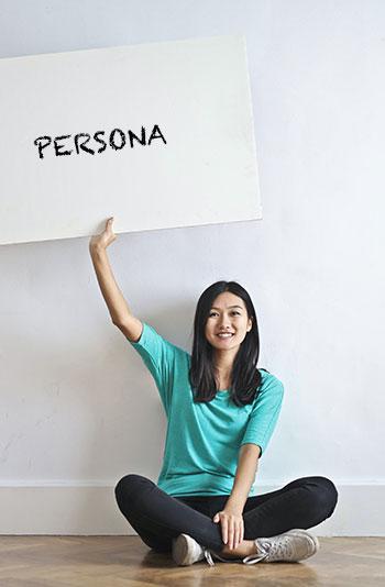 Person mit Schild